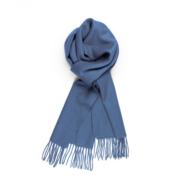 Pure Cashmere Scarf, Denim Blue
