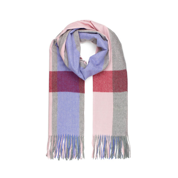 Check Jacquard Scarf, Pink & Blue