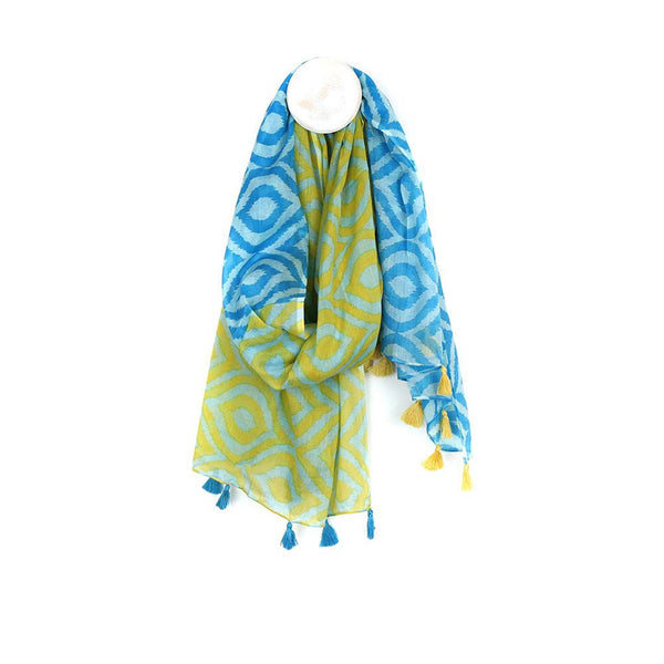 Cotton Geometric Tassel Scarf, Lime Mix