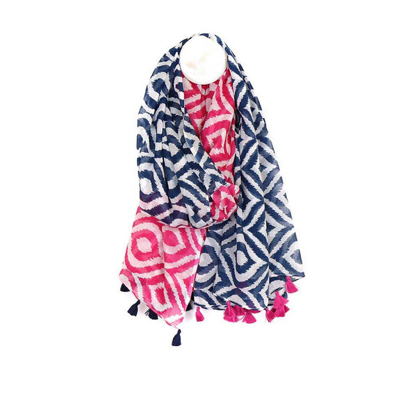 Cotton Geometric Tassel Scarf, Pink Mix