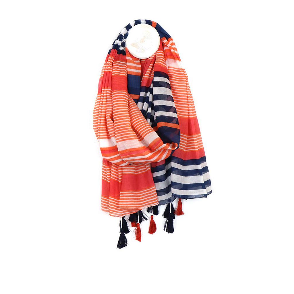 Cotton Stripe Tassel Scarf, Orange Mix