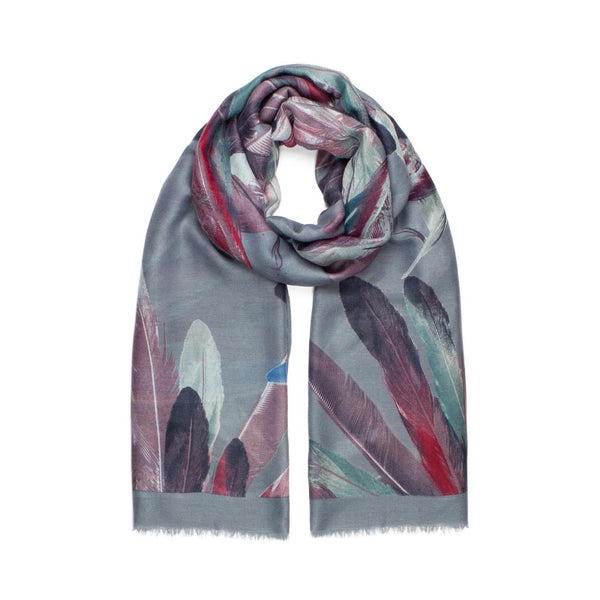 Feather Print Scarf, Grey