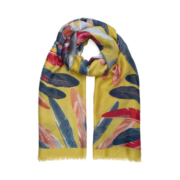 Feather Print Scarf, Mustard