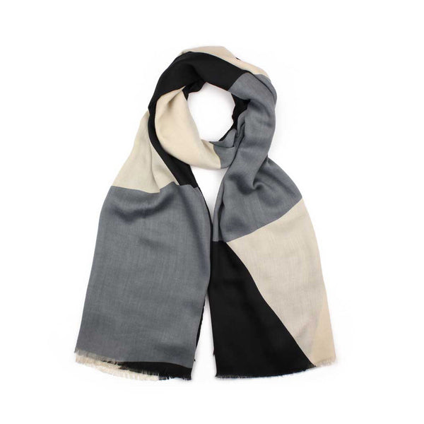 Black/Grey Geometric Print Scarf