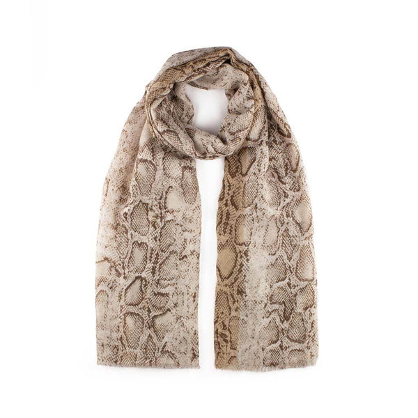 Glitter Snake Print Scarf, Taupe