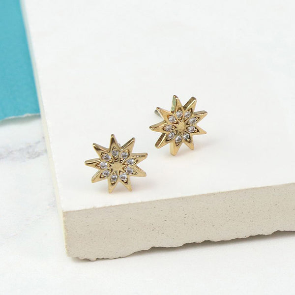Gold Plated Crystal Star Earrings