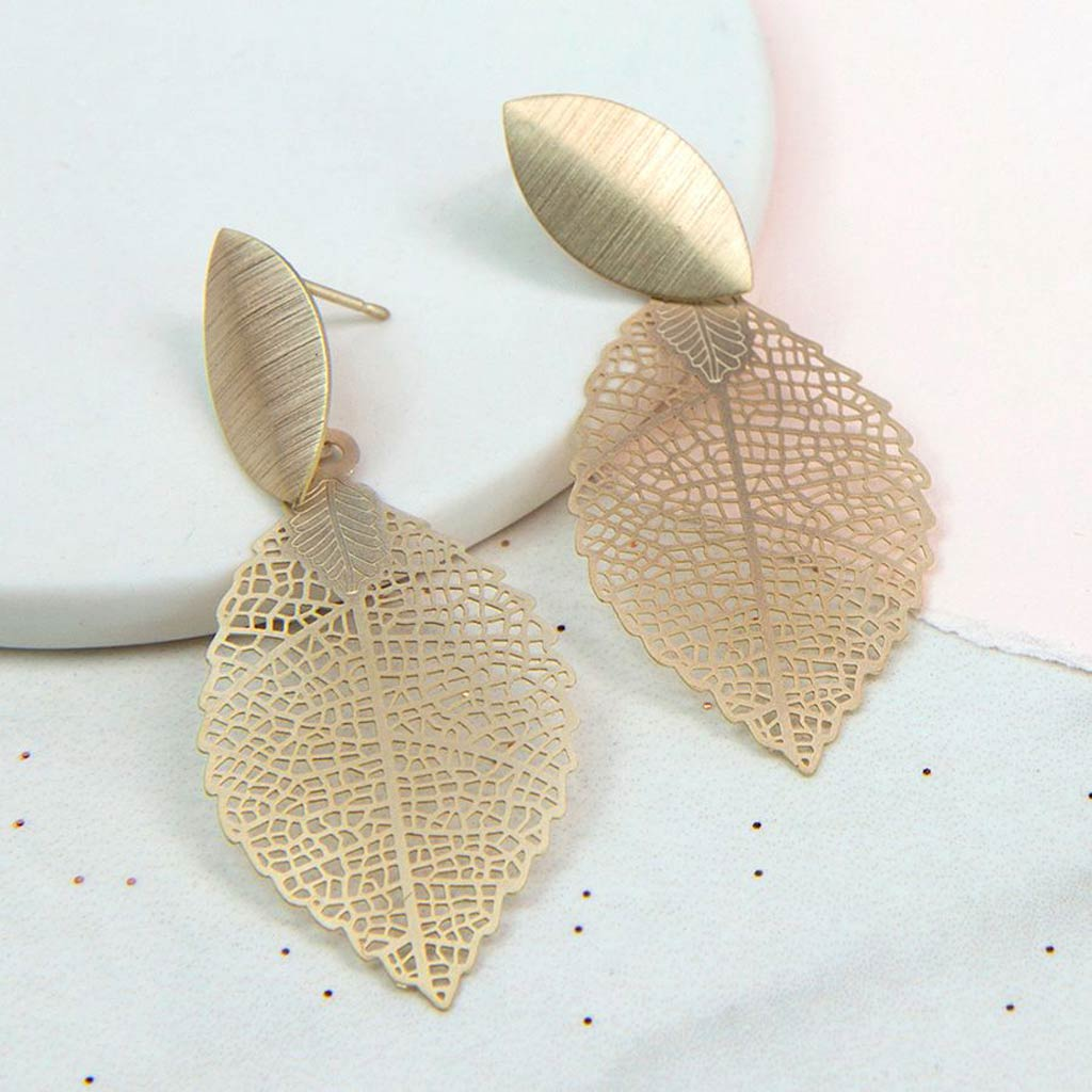 Gold Plated Leaf Drop Earrings