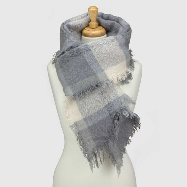 Grey Check Asymmetric Blanket Scarf