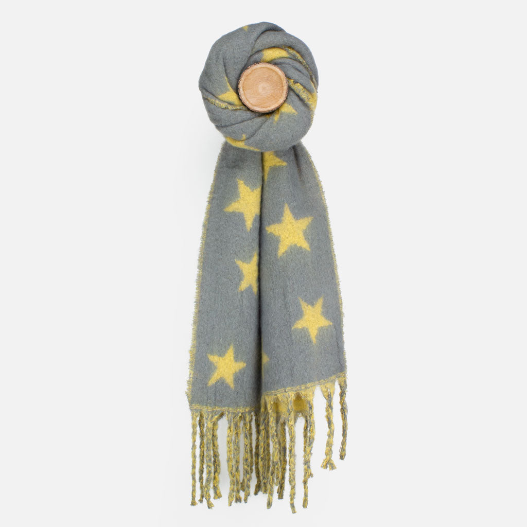 Grey/Mustard Star Knit Scarf