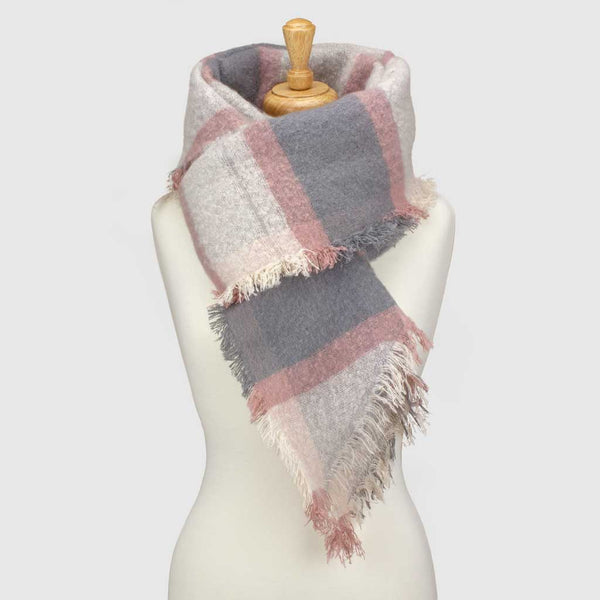 Grey/Pink Check Asymmetric Blanket Scarf