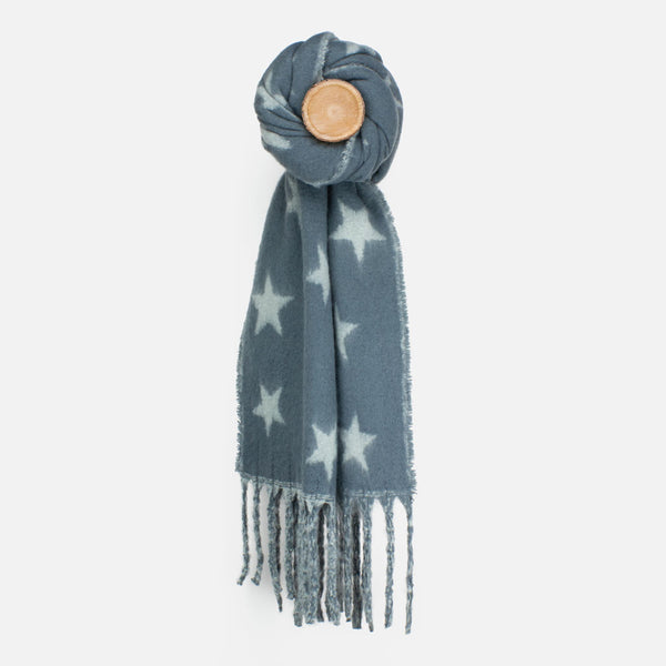 Grey Star Knit Scarf