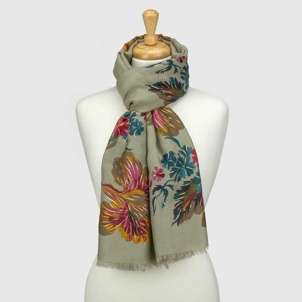 Grey Winter Floral Metallic Scarf
