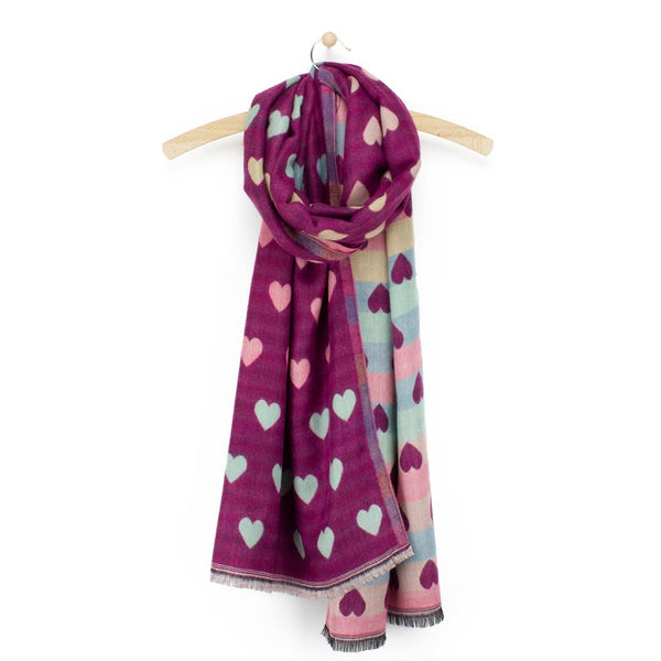 Jacquard Heart Scarf, Berry