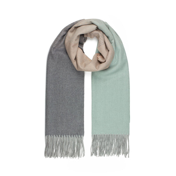 Jacquard Scarf, Mint & Grey