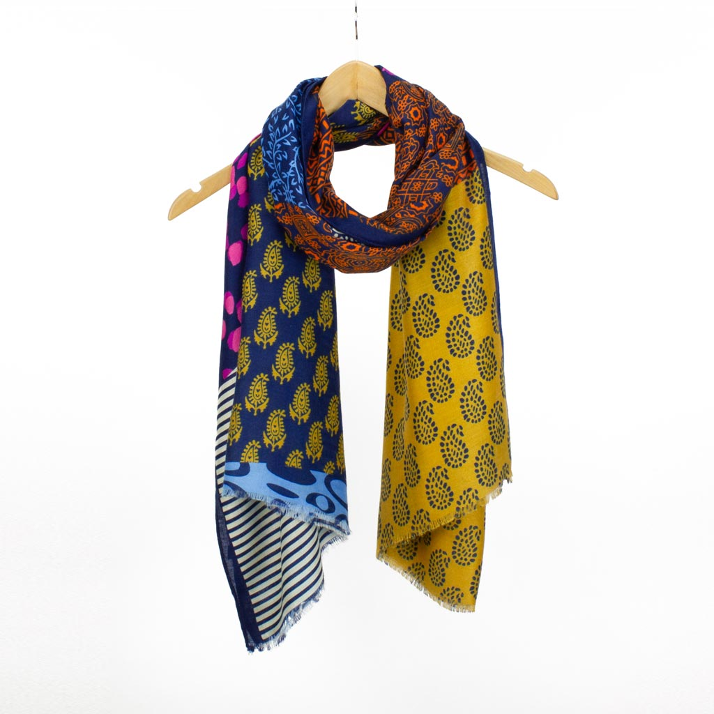 Jaipur Block Print Scarf, Navy Mix