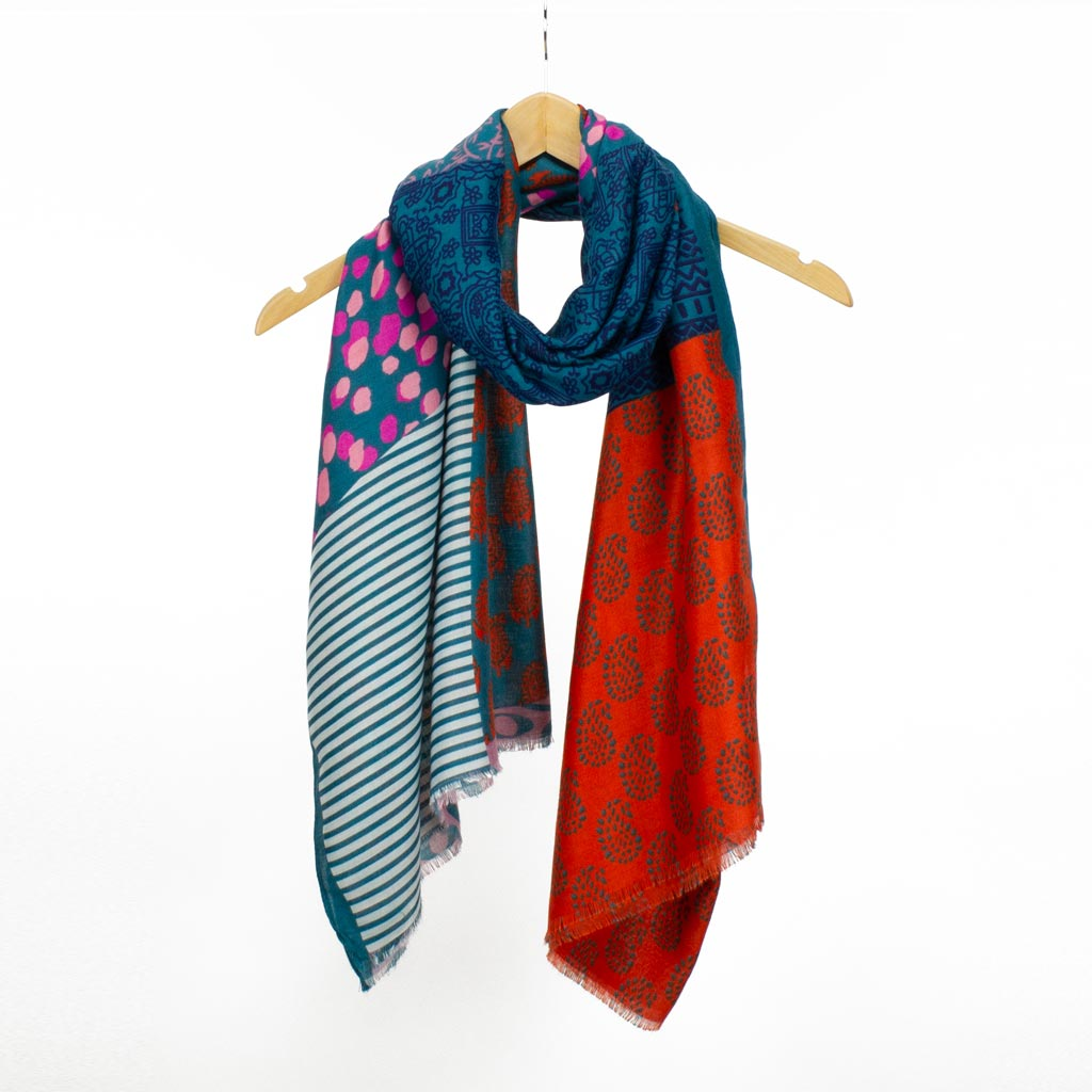 Jaipur Block Print Scarf, Teal Mix