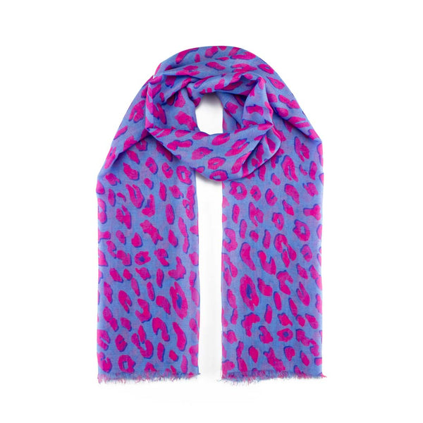 Leopard Print Scarf, Blue & Neon Pink