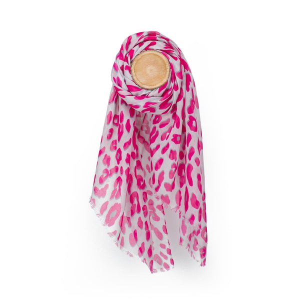Leopard Print Scarf, Light Grey & Fuchsia