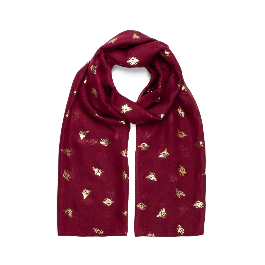 Metallic Bee Print Scarf, Burgundy