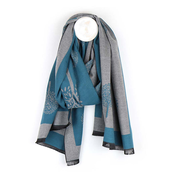Mulberry Tree Jacquard Scarf, Teal