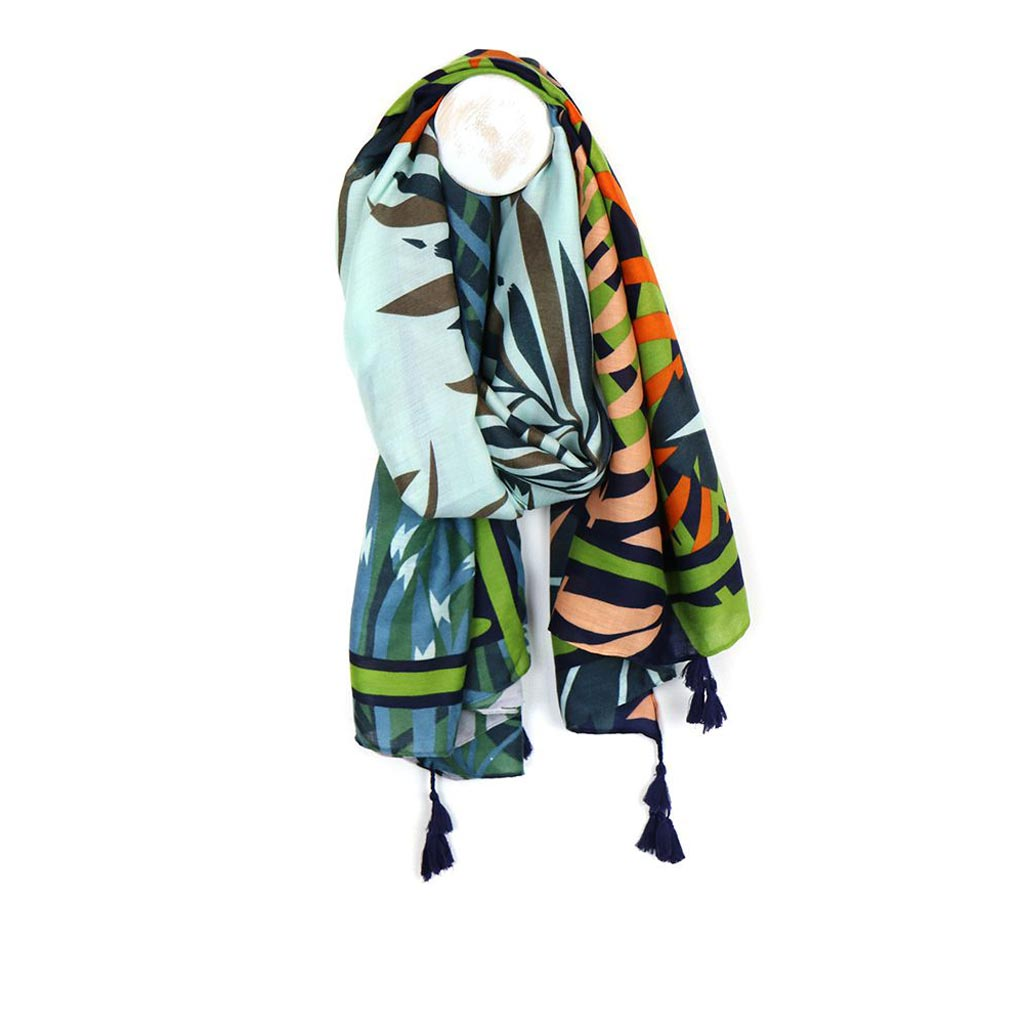Palm Print Tassel Scarf, Green Mix