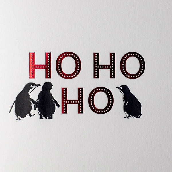 Penguin Ink Ho Ho Ho Red Foil Card