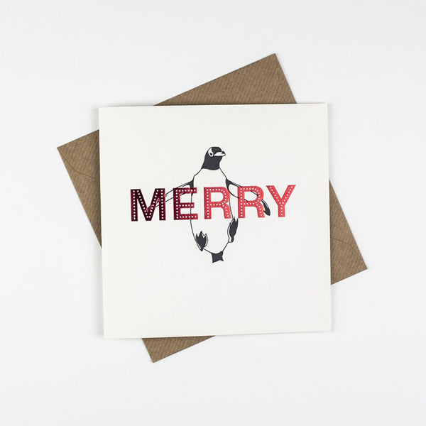 Penguin Ink Merry Red Foil Card