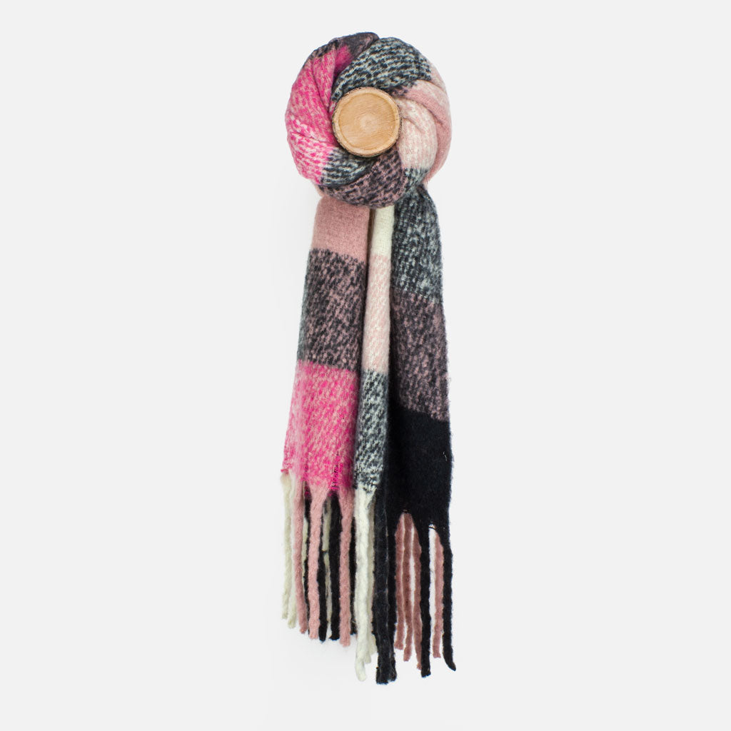 Pink/Black Block Knit Scarf