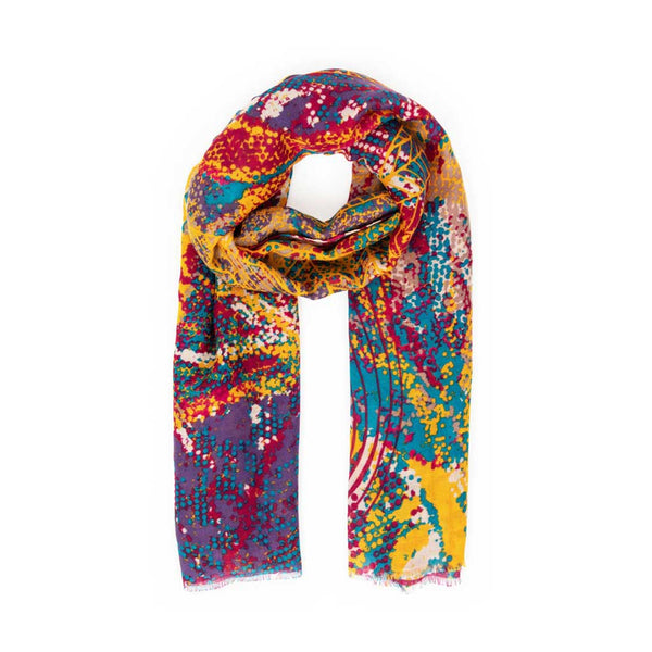 Powder Abstract Leaves Scarf