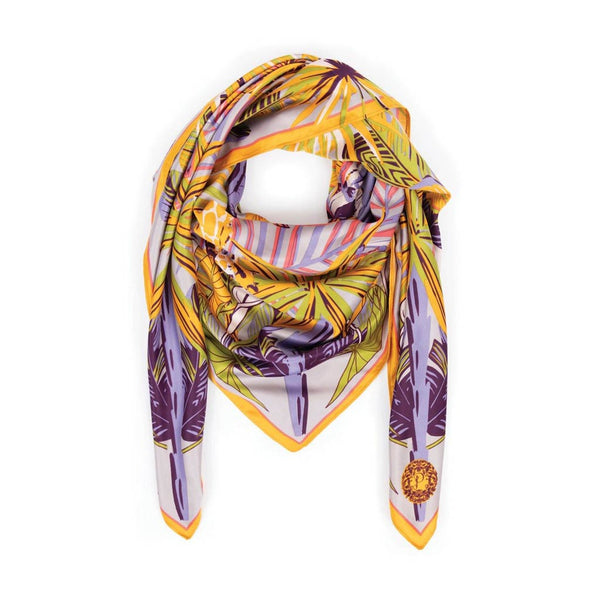 Powder Elephant Parade Satin Square Scarf