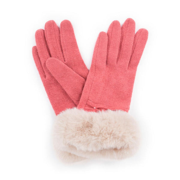 Powder Tamara Wool Gloves, Coral