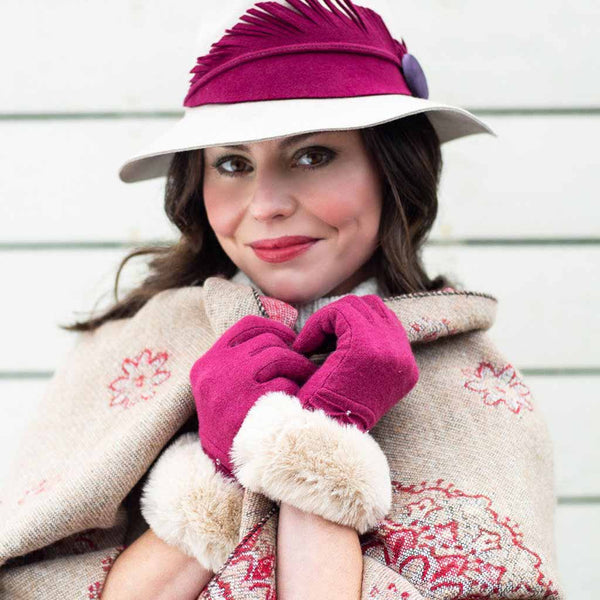 Powder Tamara Wool Gloves, Fuchsia