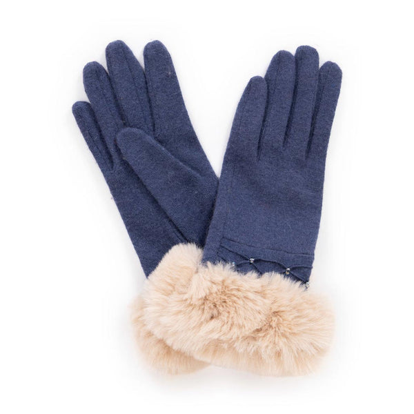 Powder Tamara Wool Gloves, Navy