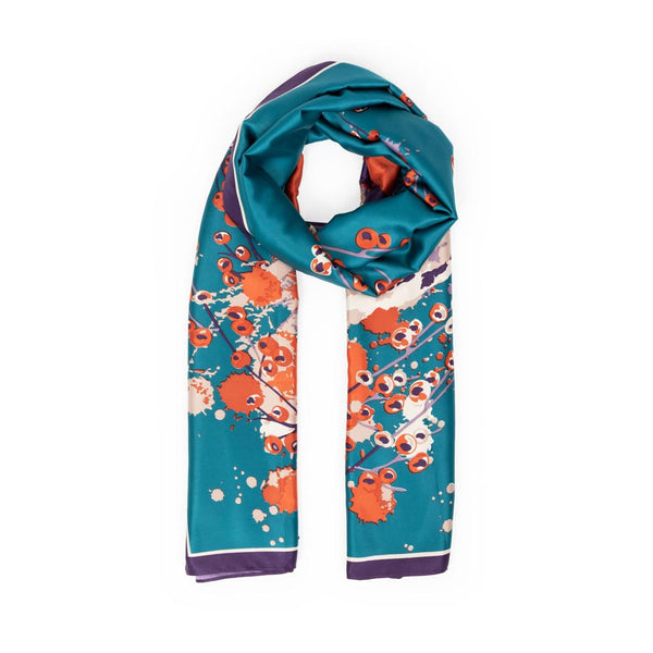 Powder Watercolour Fox Satin Scarf