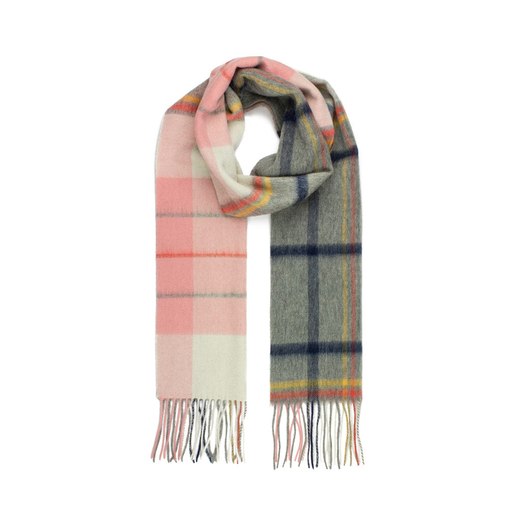 Pure Wool Scarf, Pink & Grey