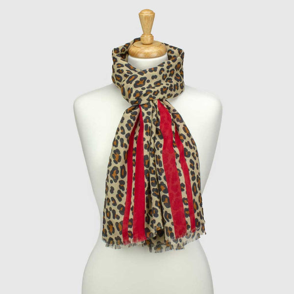 Red/Natural Leopard Print Stripe Scarf