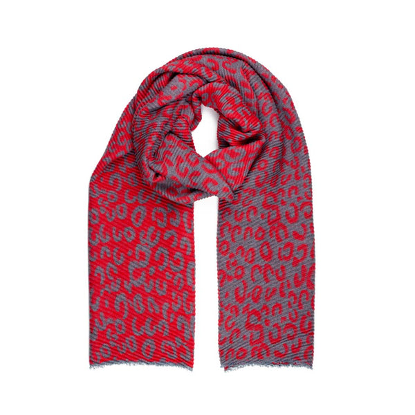 Reversible Leopard Print Scarf, Grey & Red