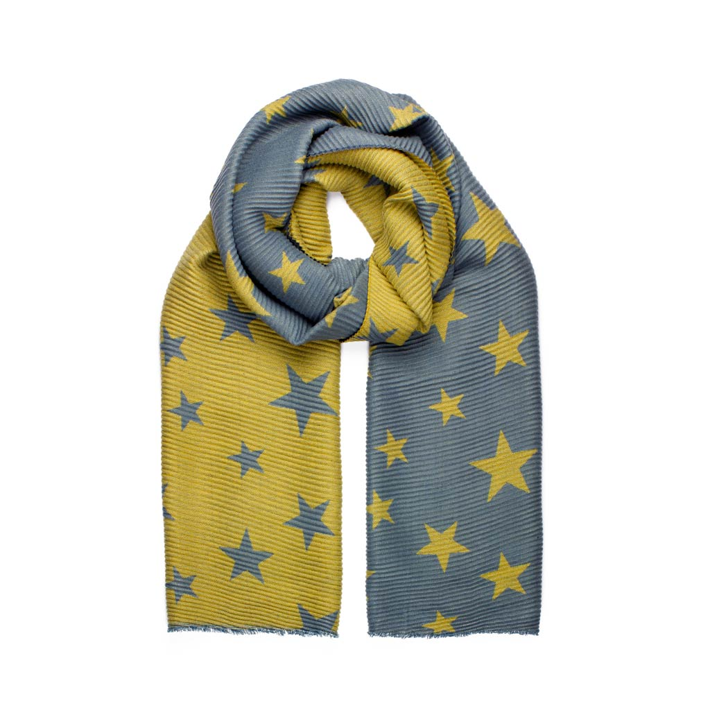Reversible Star Print Scarf, Grey & Mustard