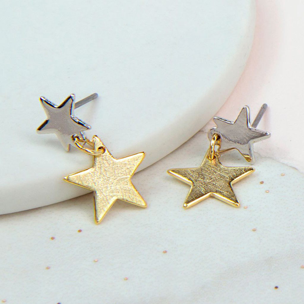 Silver & Gold Plated Double Star Earrings