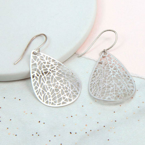 Silver Plated Abstract Leaf Earrings