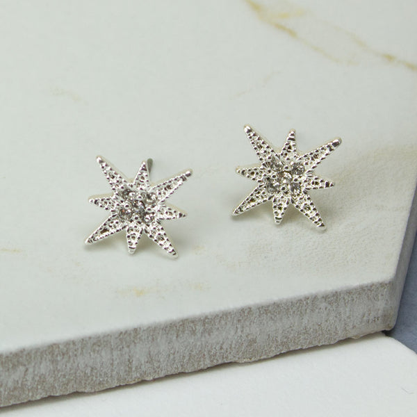 Silver Plated Crystal Star Earrings
