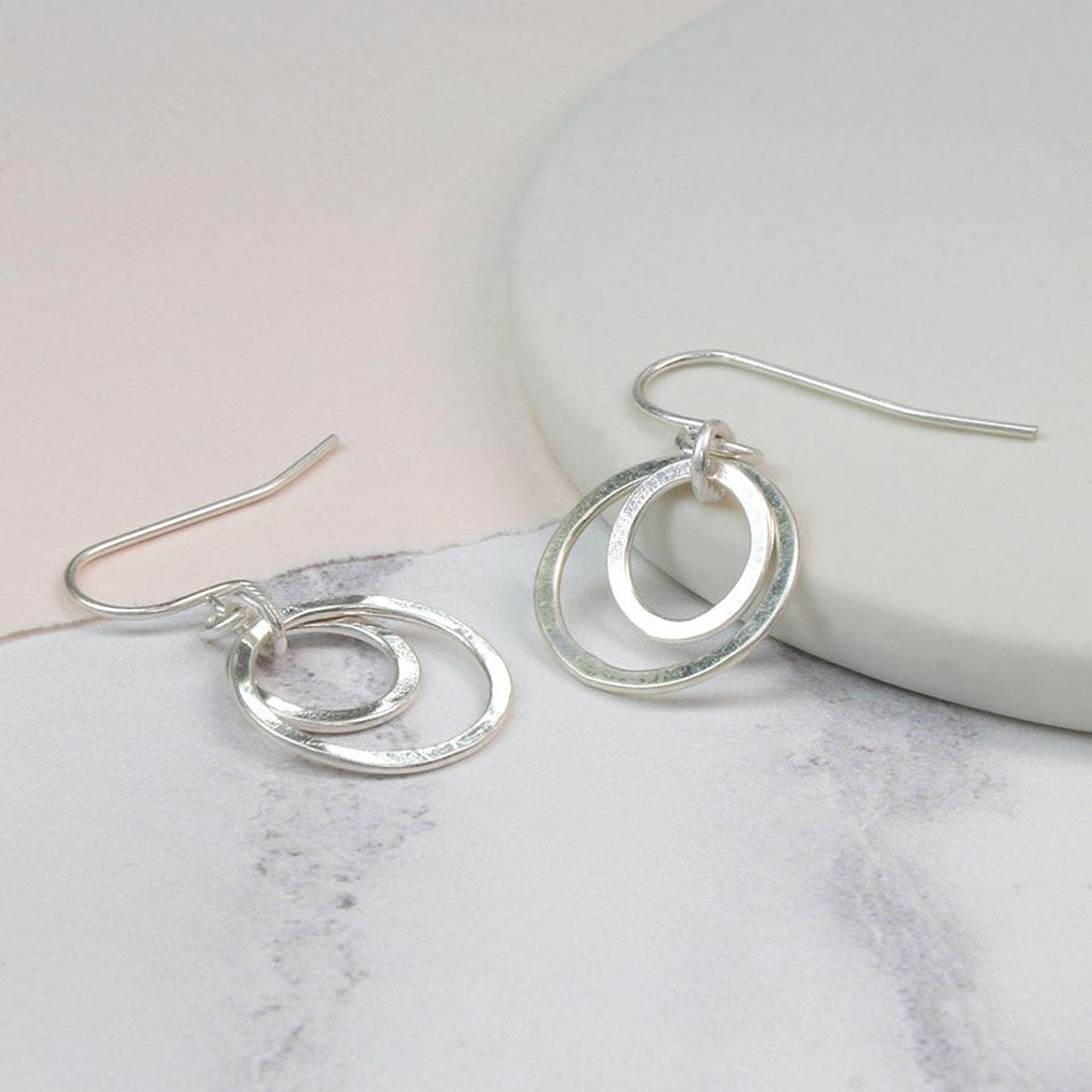 Silver Plated Double Hoop Earrings