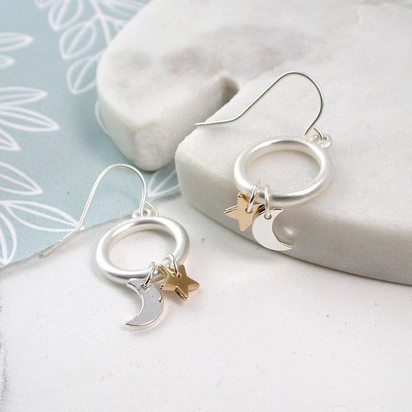 Silver Plated Moon & Star Hoop Earrings