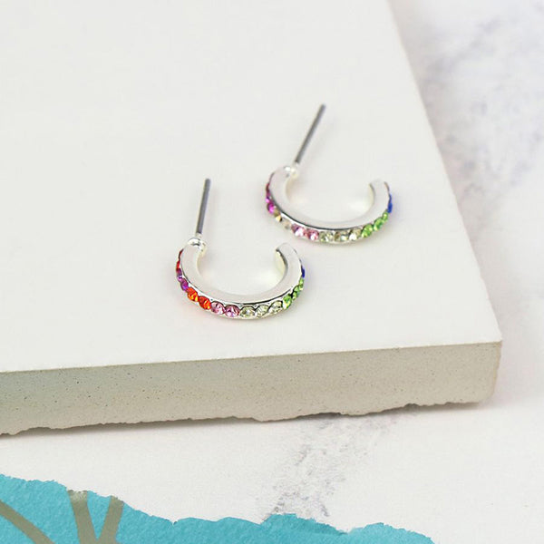 Silver Plated Rainbow Crystal Hoop Earrings