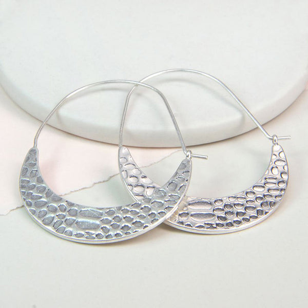 Silver Plated Textured Hoop Earrings