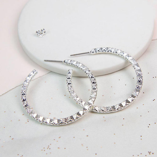 Silver Plated Zig Zag Hoop Earrings
