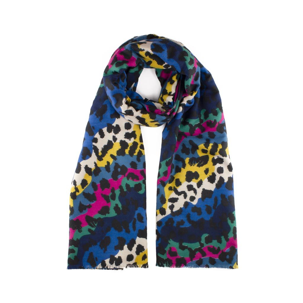 Soft Leopard Print Scarf, Rainbow Mix