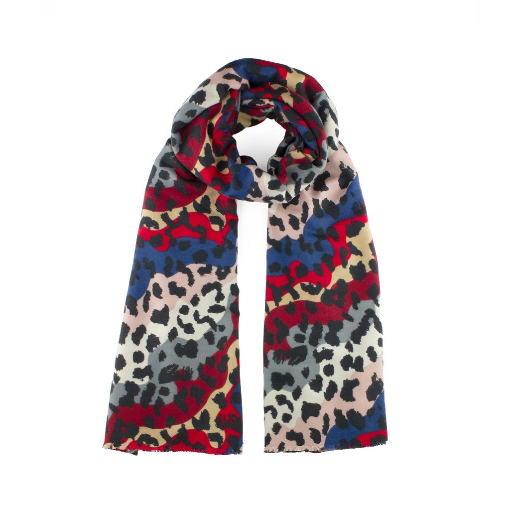 Soft Leopard Print Scarf, Red Mix