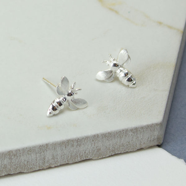Sterling Silver Bee Stud Earrings