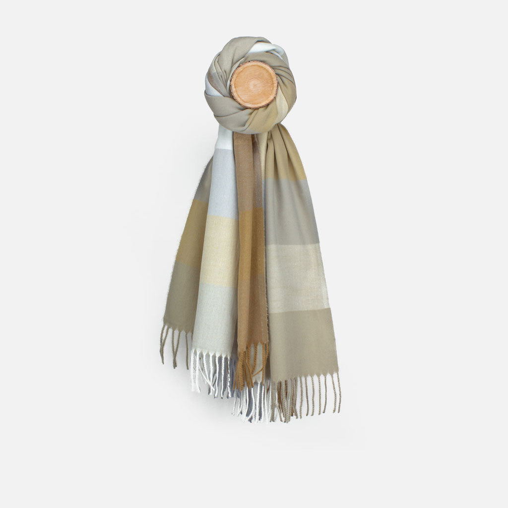 Taupe/Grey Check Scarf
